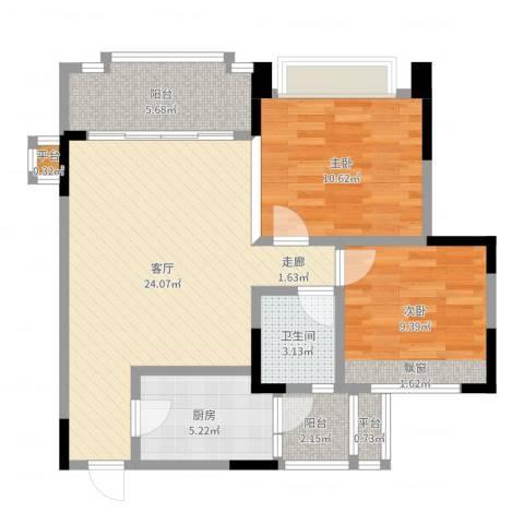 瀚华花园2室1厅1卫1厨77.00㎡户型图