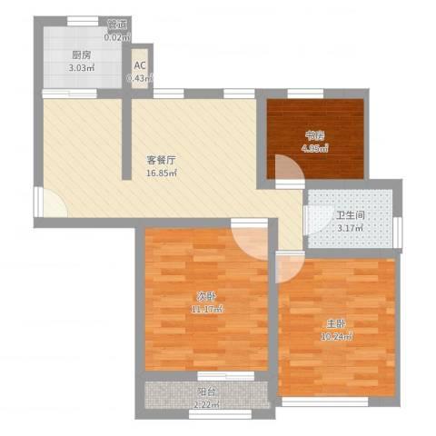 春潮花园三期3室2厅1卫1厨65.00㎡户型图