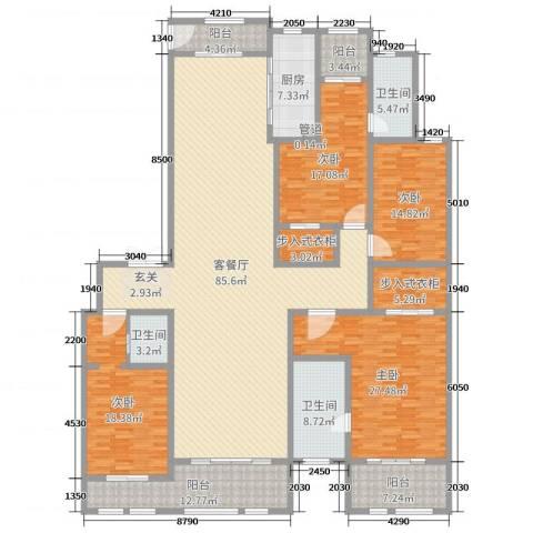 巨凝金水岸4室2厅3卫1厨280.00㎡户型图