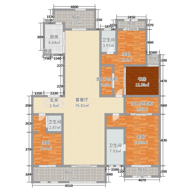 巨凝金水岸260.00㎡2#2-29层C户型4室4厅3卫1厨