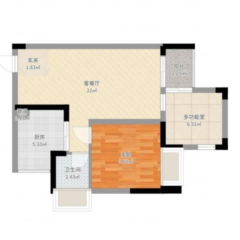 光耀荷兰公馆1室2厅1卫1厨61.00㎡户型图