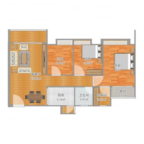 锦盛恒富得3室2厅1卫1厨106.00㎡户型图