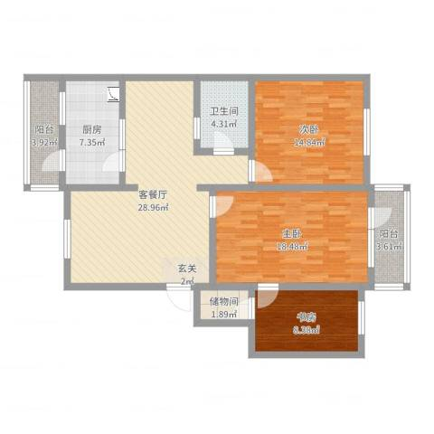 漪汾苑3室2厅1卫1厨115.00㎡户型图