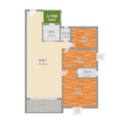 锦隆花园二期3室2厅2卫1厨120.00㎡户型图