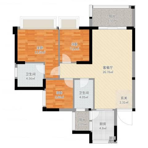 正德天水湖3室2厅2卫1厨90.00㎡户型图