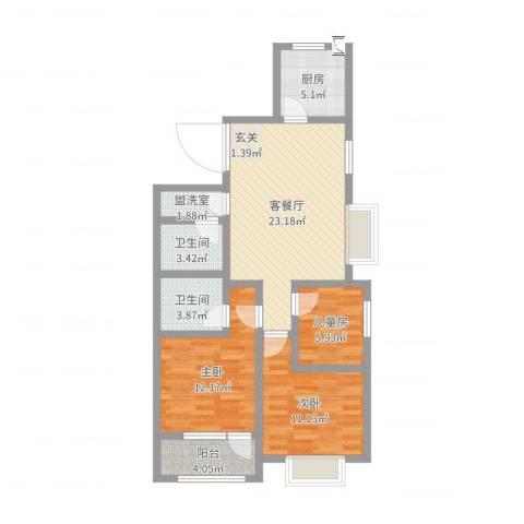 八里庄・盛世华园3室4厅2卫1厨88.00㎡户型图