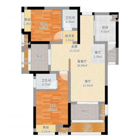 首创光和城2室2厅2卫1厨91.00㎡户型图