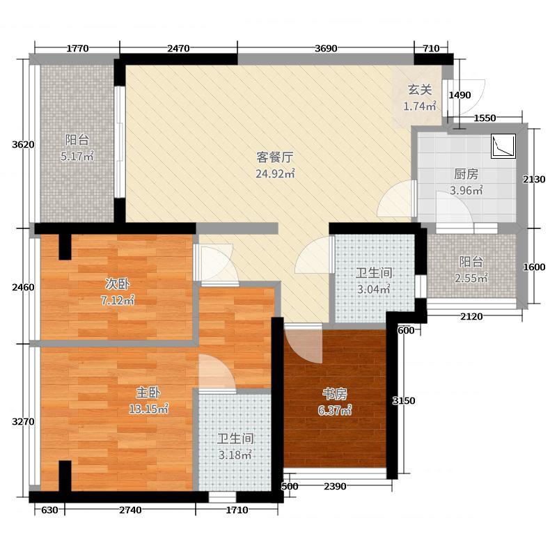 绿景虹湾89.00㎡C座B户型3室3厅2卫1厨