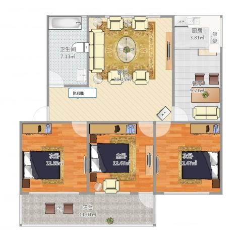 山大五宿舍3室2厅1卫1厨121.00㎡户型图