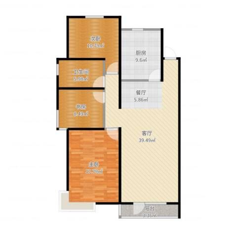 万科蓝山3室1厅1卫1厨119.00㎡户型图