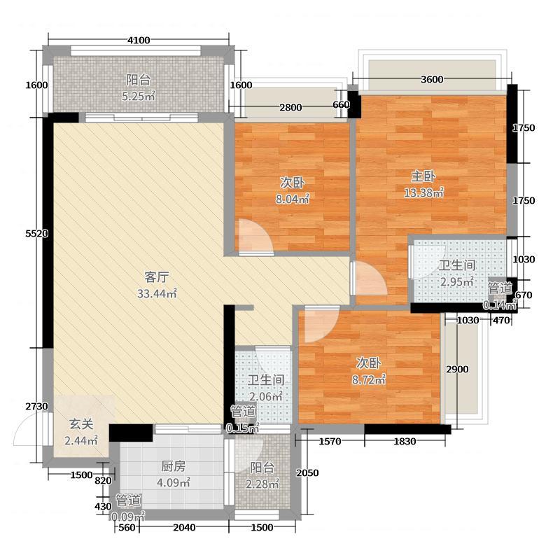 冠利万科苑104.36㎡3、5、11幢08户型3室3厅2卫1厨