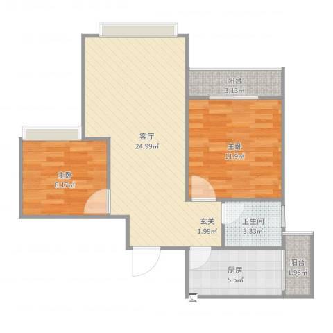建工锦绣华城2室1厅1卫1厨74.00㎡户型图