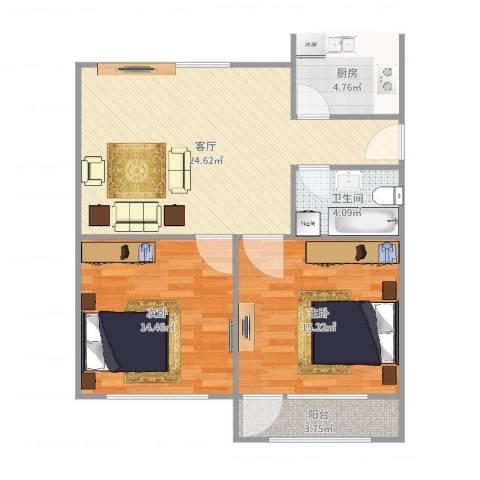 宝山三村2室1厅1卫1厨84.00㎡户型图