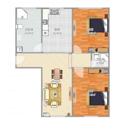 宝山三村2室1厅2卫1厨125.00㎡户型图