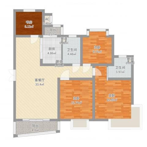 宝山三村4室2厅2卫1厨121.00㎡户型图