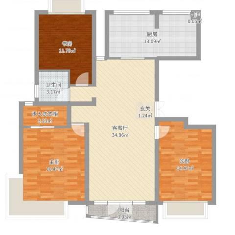 昌鑫协和园3室2厅1卫1厨126.00㎡户型图
