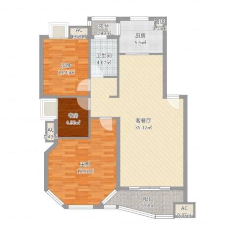 水墨兰庭3室2厅1卫1厨110.00㎡户型图