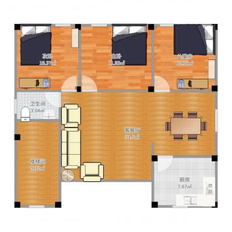 大金鼓广场3室2厅1卫1厨105.00㎡户型图