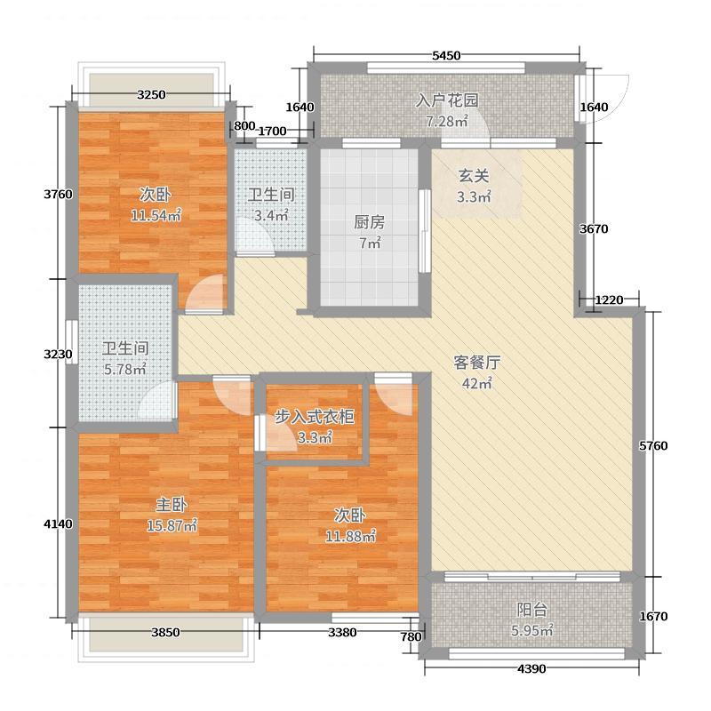 常德万达广场143.00㎡万达·湖公馆户型3室3厅2卫1厨