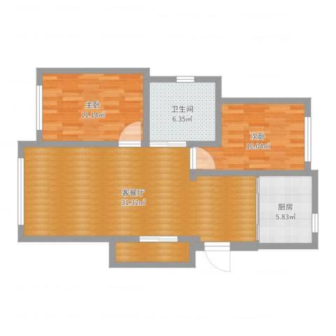 辽河新都2室2厅1卫1厨84.00㎡户型图