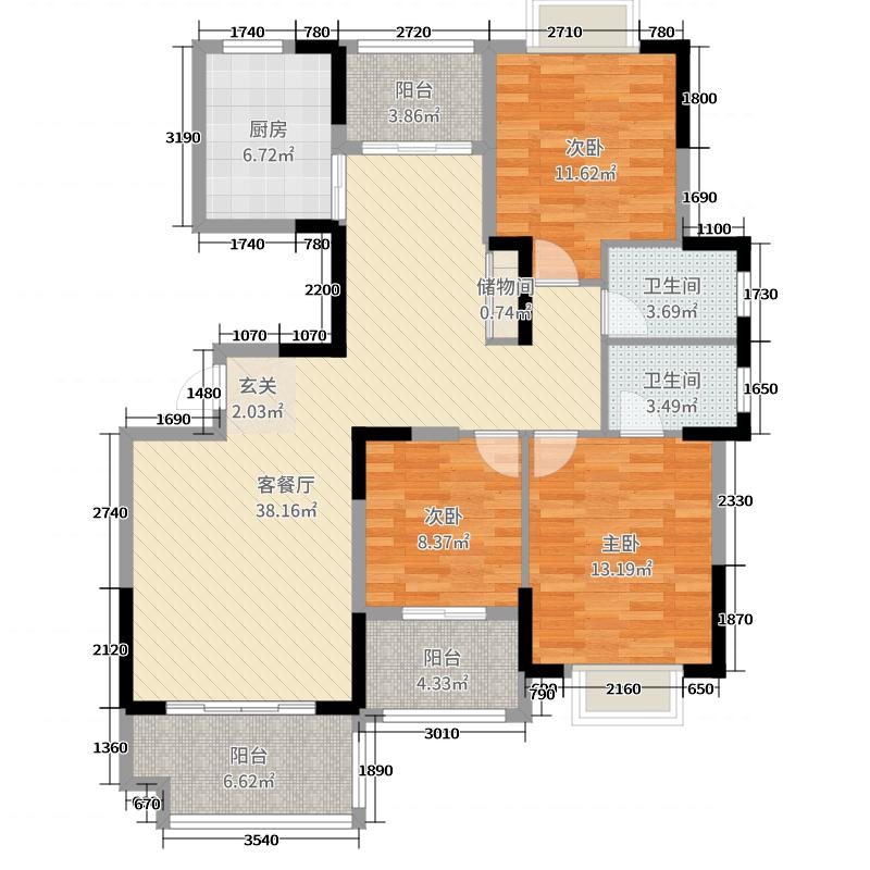 鸿都・英伦星海湾130.18㎡G2户型3室3厅2卫1厨