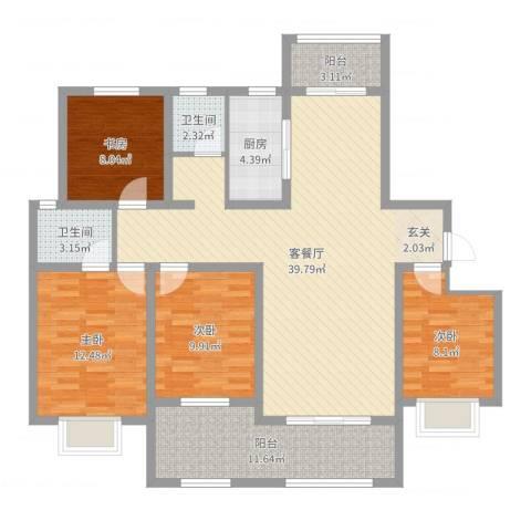 帝都・东城国际4室2厅2卫1厨129.00㎡户型图