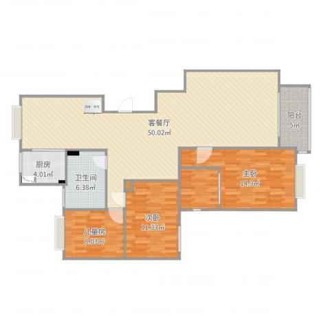 水木华园3室2厅3卫1厨130.00㎡户型图