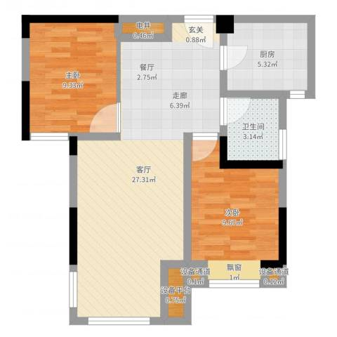 中冶枫树湾2室1厅1卫1厨70.00㎡户型图