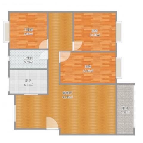 宋家安置小区8-2-601134079084873室2厅1卫1厨117.00㎡户型图