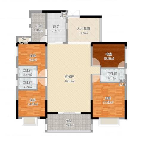 珠光新城御景4室2厅3卫1厨178.00㎡户型图