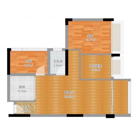 广州雅居乐花园时光九篇2室2厅1卫1厨77.00㎡户型图