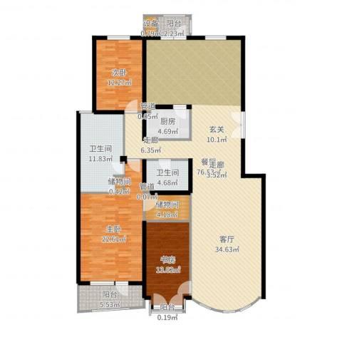 山水文园一期220平米三居室3室1厅2卫1厨199.00㎡户型图