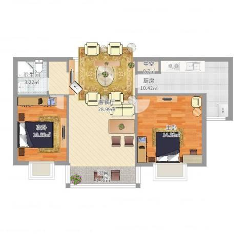 优山美地2室2厅1卫1厨95.00㎡户型图