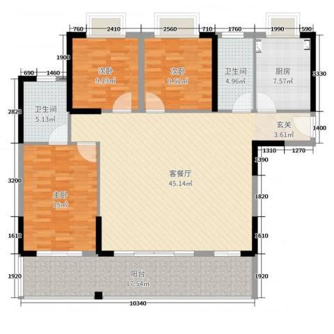 东莞时代华庭3室2厅2卫1厨142.00㎡户型图