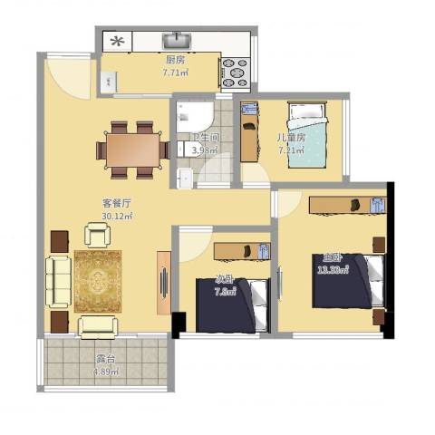 惠州星河丹堤F区10-1-26023室2厅1卫1厨94.00㎡户型图