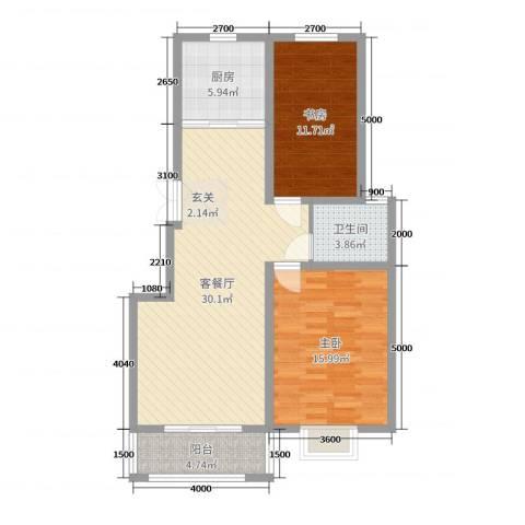 苏源聚福园2室2厅1卫1厨97.00㎡户型图