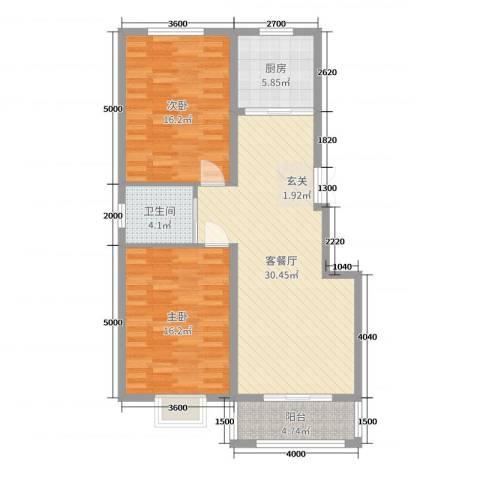 苏源聚福园2室2厅1卫1厨102.00㎡户型图
