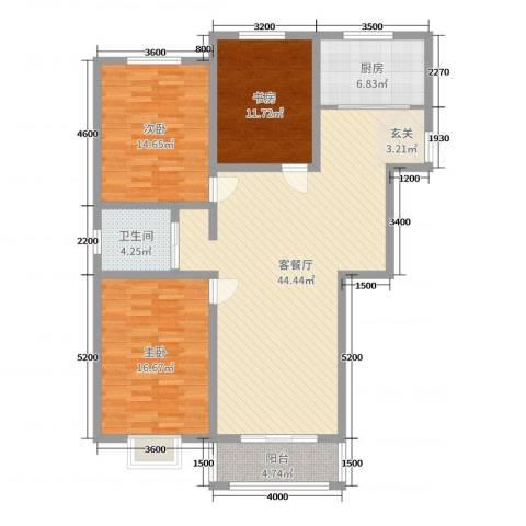 苏源聚福园3室2厅1卫1厨140.00㎡户型图