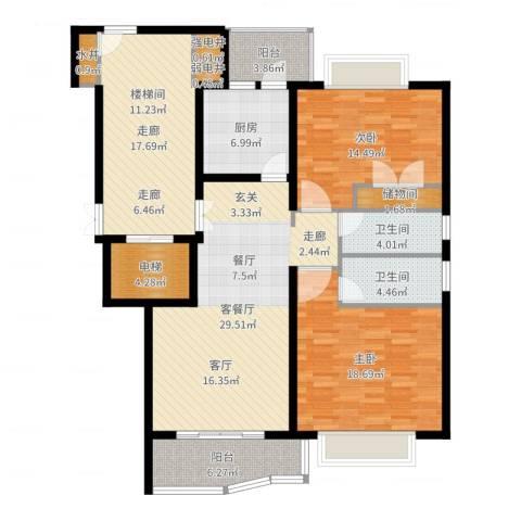 香榭水岸四期公寓2室2厅2卫1厨142.00㎡户型图