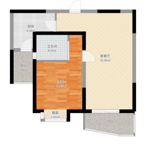大华水韵华庭1室2厅1卫1厨72.00㎡户型图