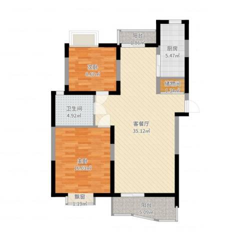 大华水韵华庭2室2厅1卫1厨98.00㎡户型图