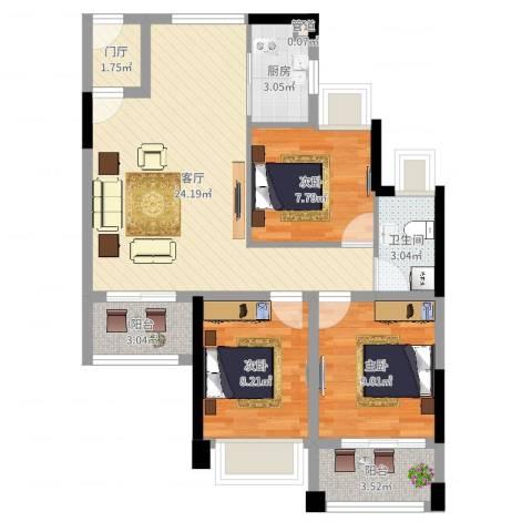 元邦明月金岸3室1厅1卫1厨80.00㎡户型图