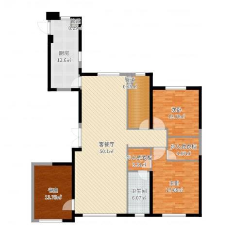 中庚当代艺术3室2厅1卫1厨162.00㎡户型图