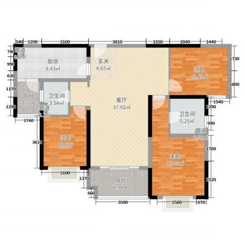 雅居乐滨江国际3室1厅2卫1厨133.00㎡户型图
