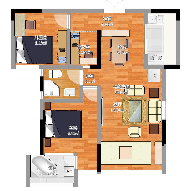 凤凰星城-2室+衣帽间+南客厅+北厨房