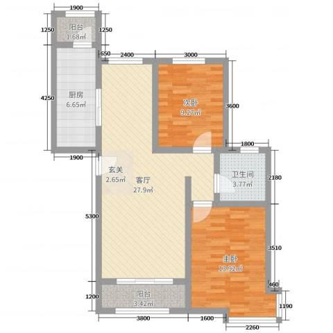 东方晨曲花苑2室1厅1卫1厨119.00㎡户型图