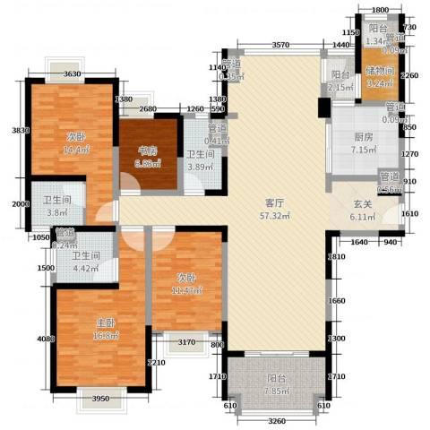 雅居乐滨江国际4室1厅3卫1厨178.00㎡户型图
