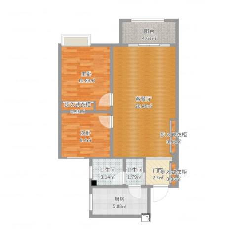 万豪华庭公馆2室2厅2卫1厨82.00㎡户型图