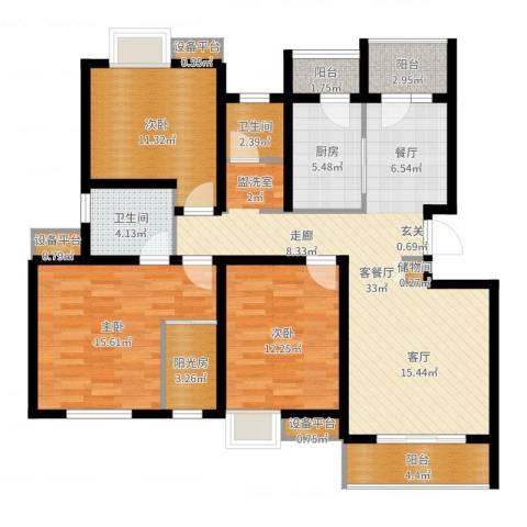 天房翠海红山3室2厅2卫1厨124.00㎡户型图