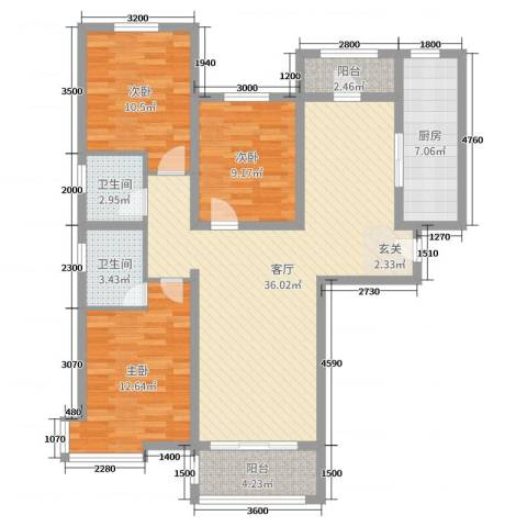 东方晨曲花苑3室1厅2卫1厨136.00㎡户型图